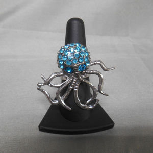 Silver tone with blue gems octopus adjustable ring